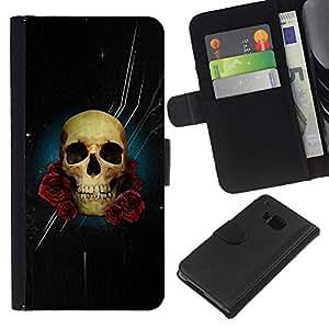 iBinBang / Flip Funda de Cuero Case Cover - Cráneo Rose Noche Espacio Death Stars - HTC One M7