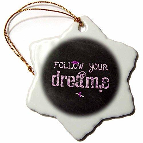 - Christmas Ornament Beverly Turner Graduation Design - Follow Your Dreams, Graduation Cap, Diploma, Caulk broad Design, Pink - Snowflake Porcelain Ornament