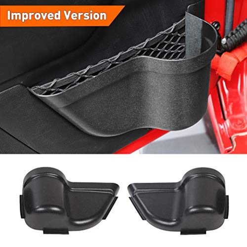 Savadicar DoorPocket Front Door Storage Pockets Organizer Box for 2011-2018 Jeep Wrangler JK JKU 2/4-Door, Door Net Pocket Replacement, Interior Accessories, Black (Improved Version)