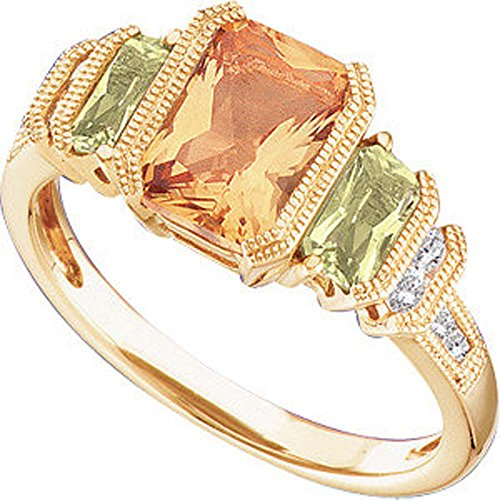 14k Gold Multi Gemstone Ring - 1/8 CTTW Genuine Multicolor Gemstone and Diamond Ring in 14k Yellow Gold ( Size 6 )