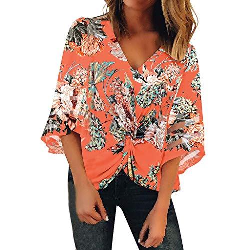 Women's Floral Print Twist V Neck Mesh Panel Blouse 3/4 Bell Sleeve Loose Top Shirt Orange