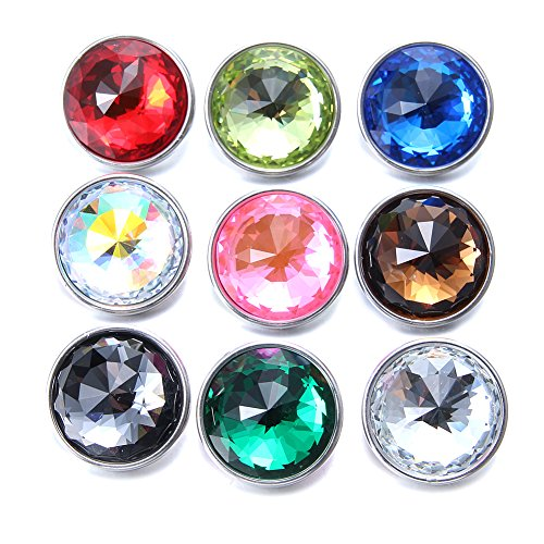 Soleebee 60 Facets Crystal Glass Snap Buttons Jewelry Charms (Pack of ()