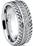 Metal Masters Co. Men's Titanium Wedding Band, Engagement Eternity ring, Chevron design, Cubic Zirconia CZ Ring SZ 13