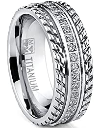 Men's Titanium Wedding Band, Engagement Eternity ring, Chevron design, Cubic Zirconia CZ Ring
