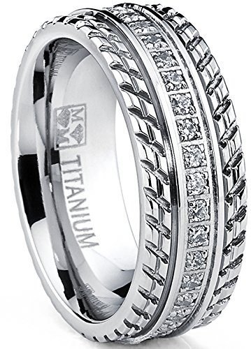 Metal Masters Co. Men's Titanium Wedding Band, Engagement Eternity ring, Chevron design, Cubic Zirconia CZ Ring SZ 7