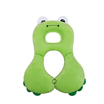 Car Seat Pillow Newborn Baby Infant Car Seat Safety U Shape Soft Memory Pillow Neck Protection Head Support Toy Travel Cute Animal Frog