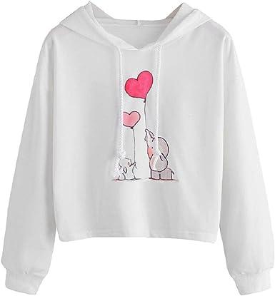 Sudaderas con Capucha y Estampado de corazón de Elefante para Mujer Abrigo de Manga Larga con Capucha Blusa Casual cálida Temporada de Lluvia Tops básicos Camisa Blanca: Amazon.es: Ropa y accesorios