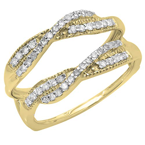 Dazzlingrock Collection 0.40 Carat (ctw) 14K Round Cut Diamond Wedding Swirl Enhancer Guard Double Ring, Yellow Gold, Size 6