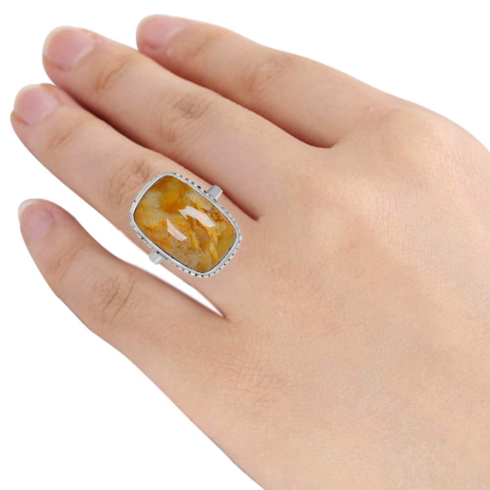 Nickel Free Beautiful And Simple Anniversary Gift For Wife By Orchid Jewelry Ring Size-6 15.00 Ct Cushion Shape Yellow Agate 925 Sterling Silver Engagement Ring For Women