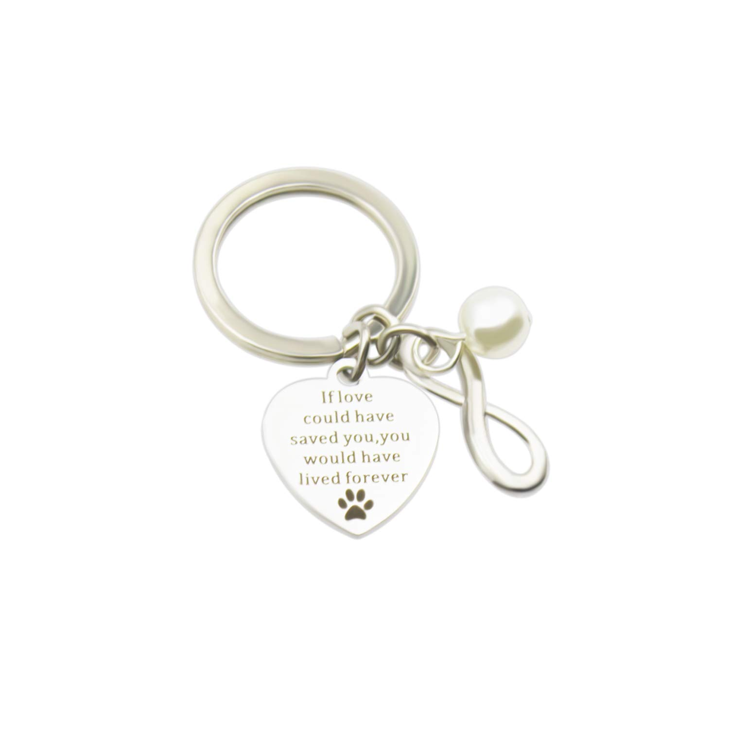 Zizh Pet Lovers Keychain Dog Cat Jewelry If love could have saved you, you would have lived forever