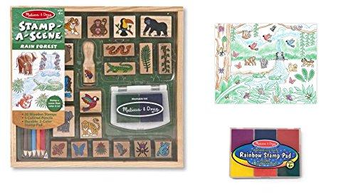 Melissa & Doug Wooden Stamp Set Bundle - Stamp a Scene - Rain Forest and Bonus Rainbow Stamp Pad