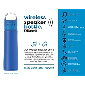 TAL Bluetooth Wireless Speaker 28 oz Water Bottle | With Micro-USB Port, Strobe Lights, and Microphone for Answering Phone Calls | Compatible with iOS, Android, iPhones and Tablets