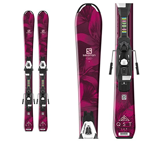 Salomon QST Lux Jr Kids Skis w/Easytrak C5 Bindings Red/Black Girl