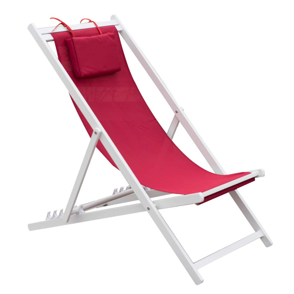 PatioPost Outdoor Portable Patio Beach Folding Adjustable Sling Chair with Headrest,Red