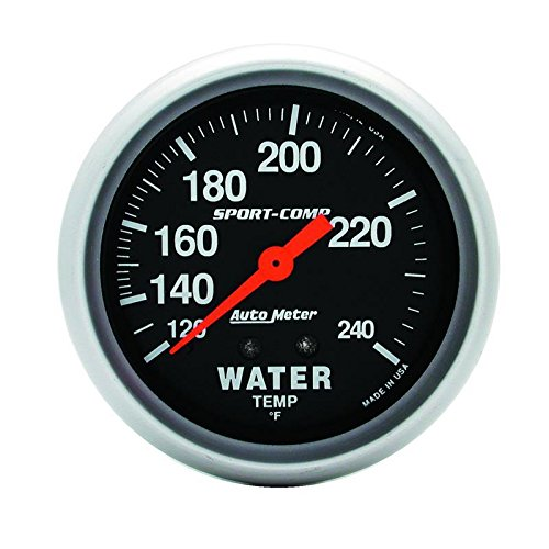 Autometer 3432 2-5/8'' WATER TEMP, 120- 240`F, 6' TUBING, MECH by AUTO METER