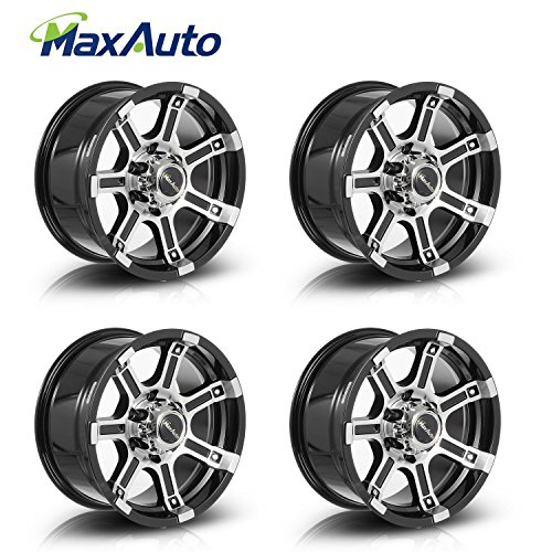 MaxAuto 4 pc 16x8, 6x139.7, 108.1, 10, Black Machined Rims Alloy Wheels Compatible with Toyota Tacoma 95-17/Chevrolet Tahoe 95-06/Toyota 4Runner 86-02, Compatible with Nissan Pathfinder 1987-2004