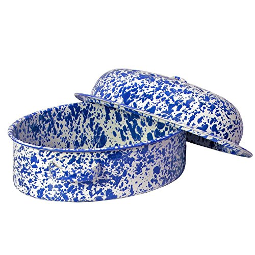Enamelware Small Oval Roaster - Blue Marble