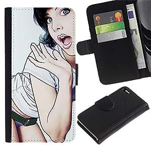 Estuche de Cuero Billetera del tirón Tarjeta de la Bolsa Titular de Suave Caso para Apple Iphone 4 / 4S / CECELL Phone case / / Babe Panties Sexy Lips Legs Woman /
