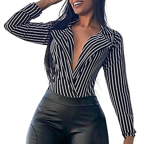 - KFSO Women Sexy Turn-Down Collar Long Sleeve Stripe Blouses Tops Pullover Shirt (Black, S)