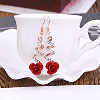 Fashion Women Crystal Red Rose Flower Gold Earrings Dangle Drop Wedding Jewelry ERAWAN