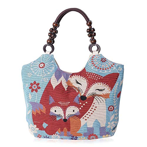 Blue, Multi Colour Fox Pattern Jacquard Tote bag Size 41x29x11 Cm