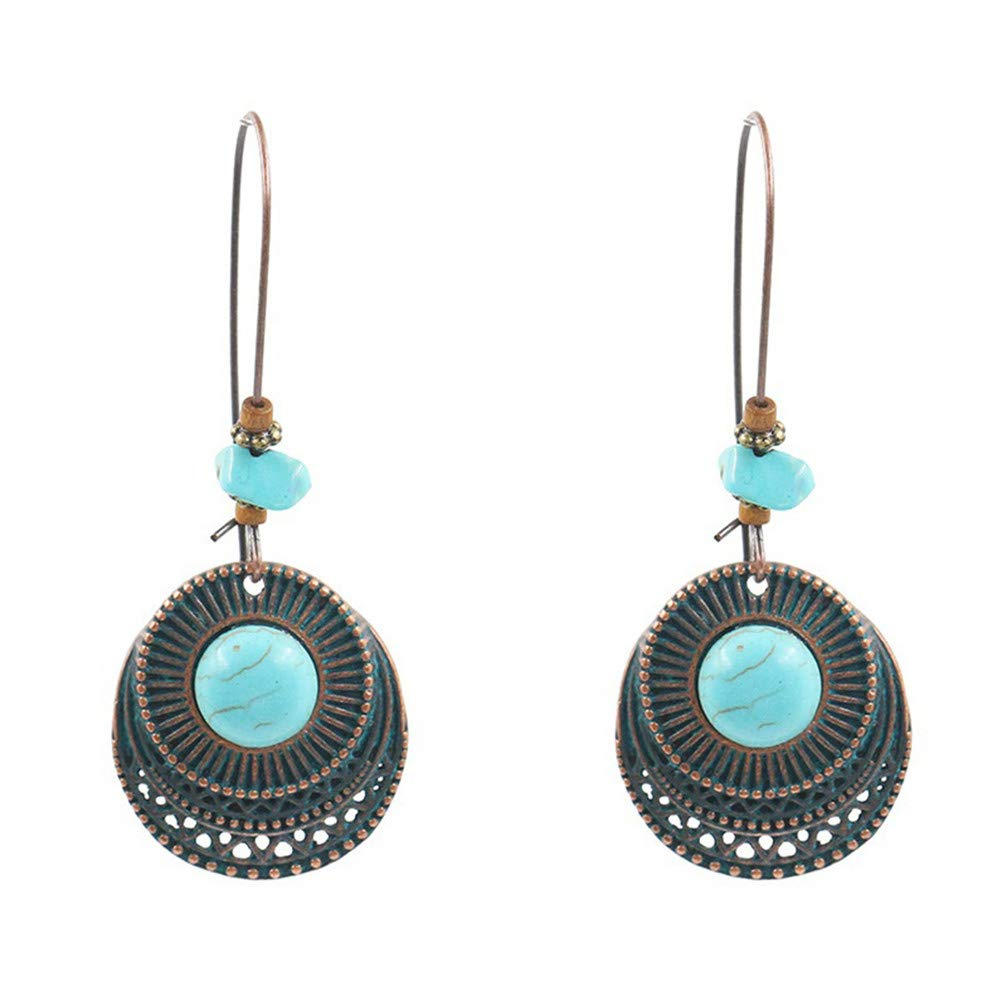 Myhouse Creative Vintage Round Alloy Turquoise Long Dangle Earrings
