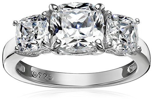 (Platinum-Plated Sterling Silver Cushion-Cut 3-Stone Ring made with Swarovski Zirconia (3 cttw), Size 5)