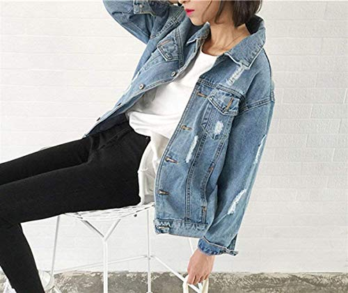 Lunghe Donna Tendenza Bavero Fashion Blu Eleganti Stile Battercake Distressed Jeans Strappato Giacca Maniche Cappotto Coat Sciolto Donne Streetwear Casual Casuale wE8Aaqxaf