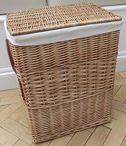 Natural mimbre cesto Con renglones juguete o colada cesta de almacenaje, de caña, con forro Mediano Alto tamaño