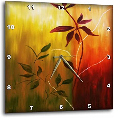 3dRose DPP_48055_1 Fall Leaves Painting Wall Clock, 10 by 10-Inch