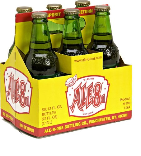 Ale Drinks - Ale 8 One Soft Drink, 12 Ounce (6 Glass Bottles)