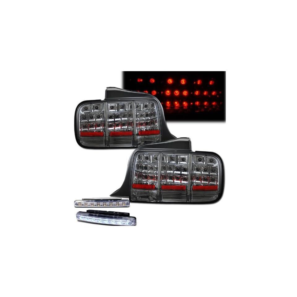 2005 2009 FORD MUSTANG REAR BRAKE TAIL LIGHTS LAMPS SMOKED+LED BUMPER RUNNING