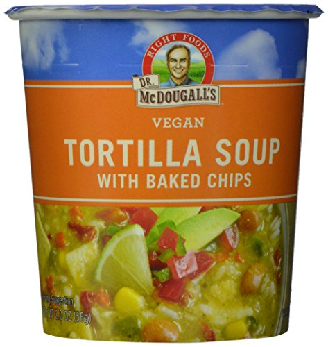 Dr. McDougall's Right Foods Vegan Tortilla Soup with Baked Chips, 2 Ounce Cups (Pack of 6) Gluten-Free, Non-GMO, No Added Oil, Paper Cups From Certified Sustainably-Managed Forests