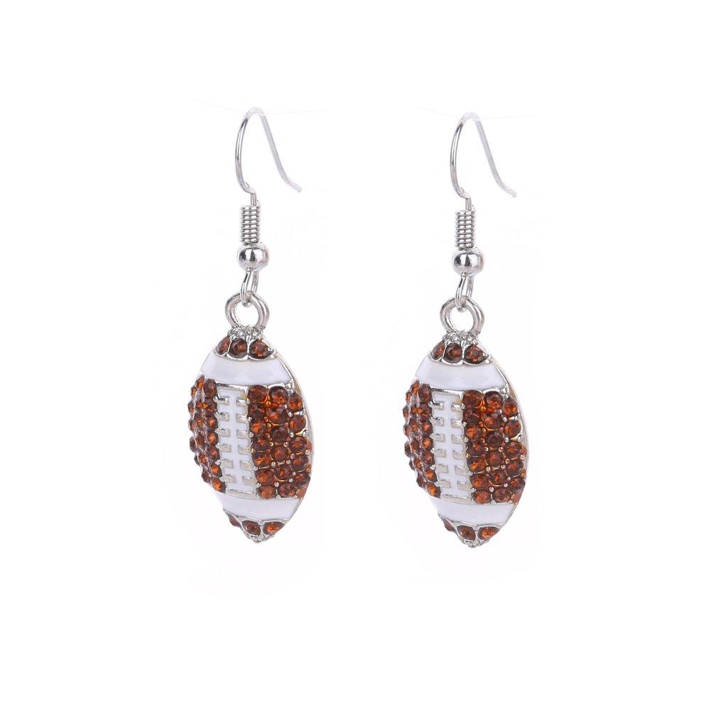 Lureme Fashion Crystal Rhinestone Fish Hook Dangle Football Earrings (er005452-5)