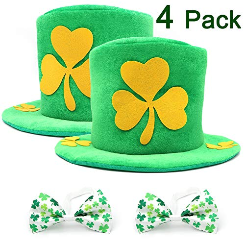 PETUOL St. Patrick's Day Decorations Shamrock Hat, Saint Patricks Day Party Favors Decorative Accessories Velvet Top Hat and Bows Tie for Men Women's Costumes Supplies Irish Kids PartyToys Green -