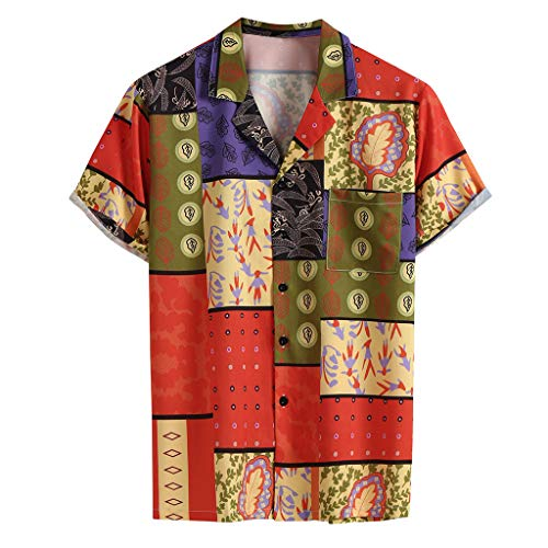 Shirt Tropical Hawaiian Shirt Casual Button Down Short Sleeve Summer Fashion Lapel Print Shirt Top Blouse Men (L,Red) -