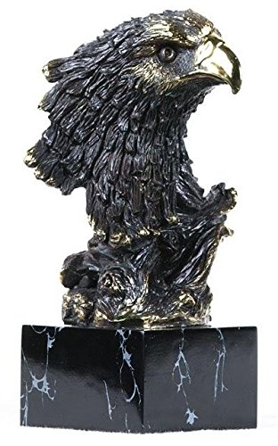 StealStreet SS-BA-E211, 9 Inch Brass Bust of Bald Eagle Head on Obsidian Stand Display Statue