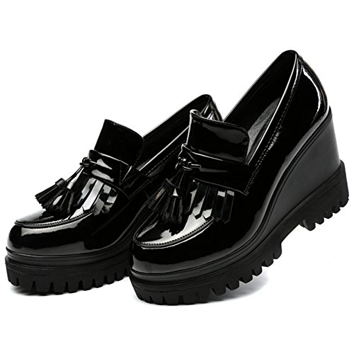 Wealsex Ladies Women's Patent Leather Casual Wedges Loafers Thick Heel Moccasins With Tassel Comfort Platform Brogue Shoes Goth Punk Flats Creeper Shoes Black JtuYk