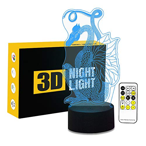 - Circle Circle Dragon 3D Optical Illusion Table Lamp 7 Colors Change Touch Button and 15 Keys Remote Control LED Light Decor