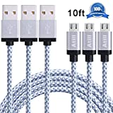 Atill Micro USB Cable 3 Pack 10ft High Speed Nylon Braided Charging Cord for Samsung, Nexus, LG, HTC, Motorola, Android Smartphones, Tablets and More - White