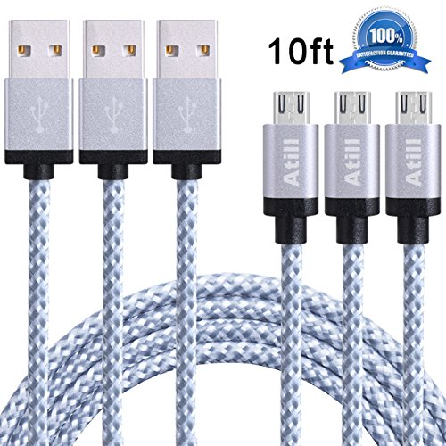 Atill Micro USB Cable 3 Pack 10ft High Speed Nylon Braided Charging Cord for Samsung, Nexus, LG, HTC, Motorola, Android Smartphones, Tablets and More - White (Radiation Cans compare prices)