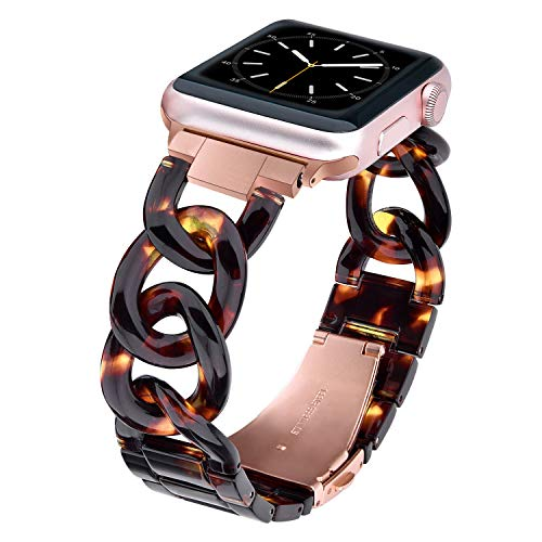 Plastic Band Link (V-MORO Hemp Flowers Resin Band Compatible with Apple Watch Band 38mm 40mm Series 4/3/2/1 Women Men with Stainless Steel Buckle, iWatch Replacement Resin Wristband Strap Bracelet (Tortoise, 38mm/40mm))