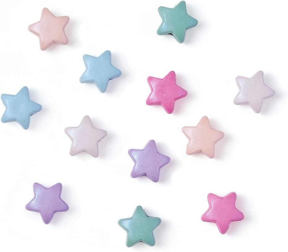 50pcs Mixed Color Acrylic Rubberized Star Opaque Beads For DIY Bracelet Necklace