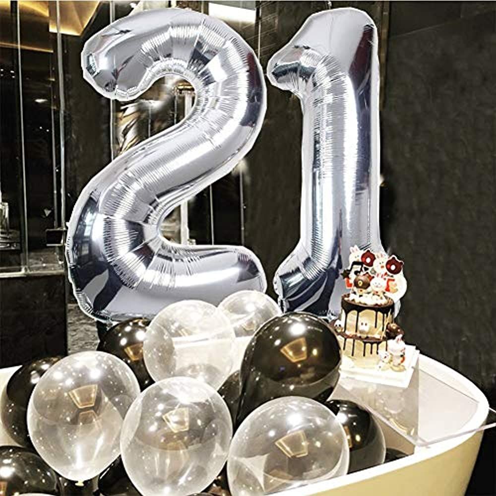 21st Birthday Decorations Puchod Happy Decoration Banner Number 21 Foil Ballon Party Decor Set With Tissue Paper Pom Balls Black Silver For