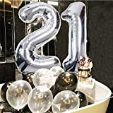 21st Birthday Decorations, Puchod Happy Birthday Decoration Banner Number 21 Foil Ballon Party Decor Set with Tissue Paper Pom Pom Balls Black Gold Silver for Boy Men