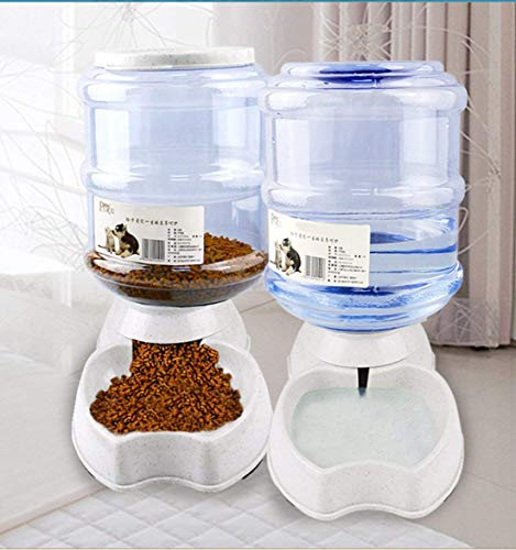 - meleg otthon Pet Water Feeder Dispenser, Automatic Pet Waterer,Dog Cat Water Food Combo,Pet Water Dispenser Station,Automatic Gravity Water Drinking Fountain Bottle Bowl Dish Stand 1 Gal(3.8L)