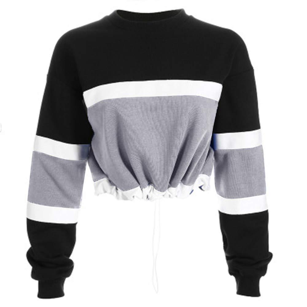 Womens Long Sleeve Splcing Color Sweatshirt Pullover Tops Blouse Hoodies Hoodie Cute Sweatshirts Cute Sweaters for Women Cute Sweaters Pink Hoodie