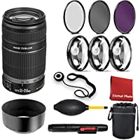 Canon EF-S 55-250mm f/4-5.6 IS II Lens with 3 Piece Filter Kit, Blower, Lens Hood, LensPen, Cap Keeper, Case, and Ceaning Cloth, 3 Piece Macro Closeup Kit