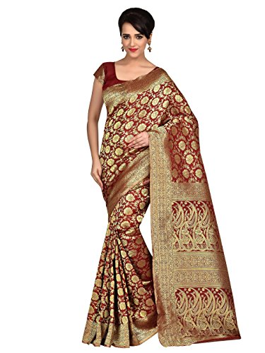 Shonaya Red Banarasi SIlk Handloom saree & Unstitched - Sarees Indian