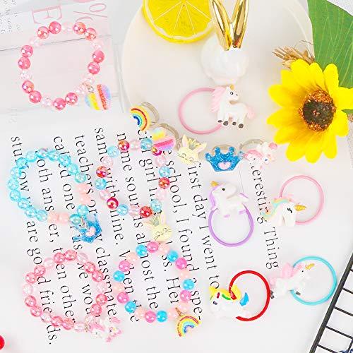 LOVESTOWN 15 Pcs Toddler Bracelets Rings Set, Pretend Play Bracelet Little Girl Animal Bracelets Girl Toy Bracelets for Birthday Gift Dress Up Game Props
